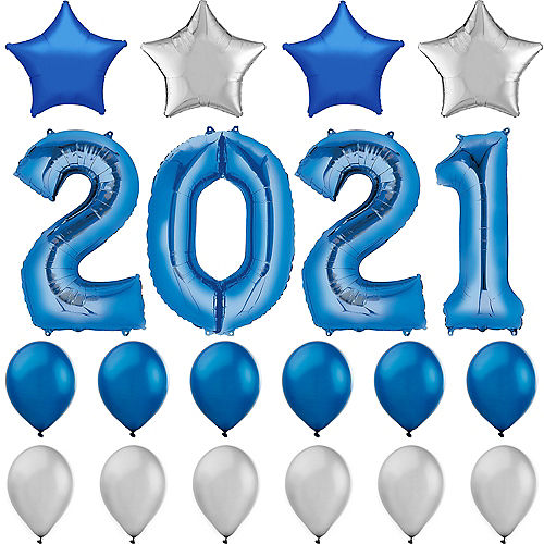 Blue 2019 Number Balloon Kit