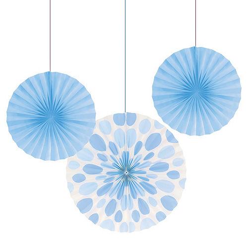 Pastel Blue Paper Fan Decorations 3ct