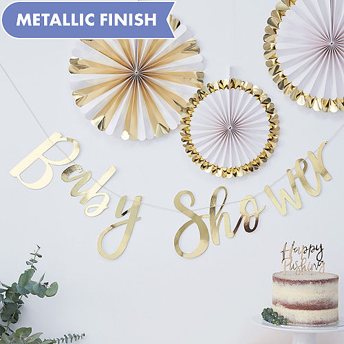 639a369df Ginger Ray Metallic Gold Baby Shower Letter Banner