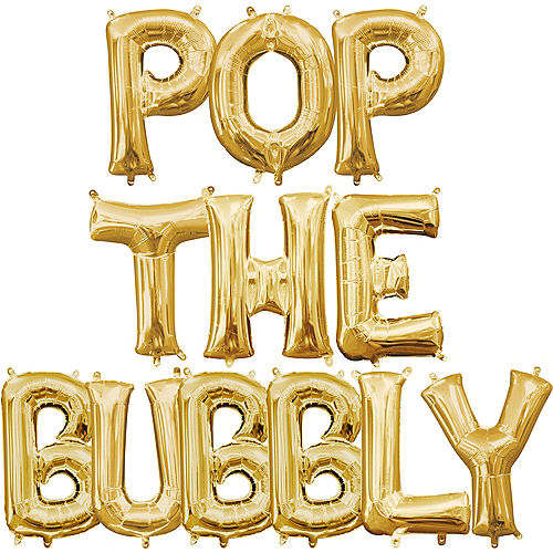 air filled gold pop the bubbly letter balloon kit