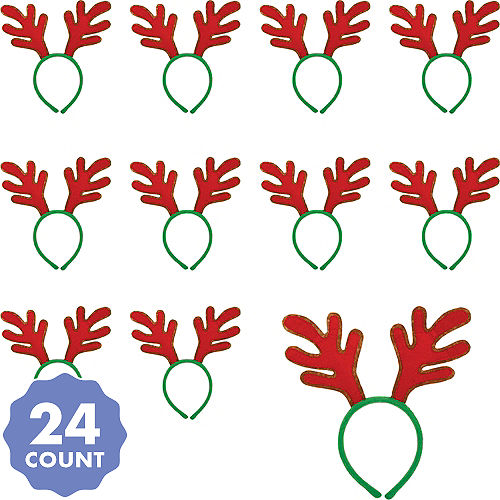 red reindeer antlers headbands 24ct