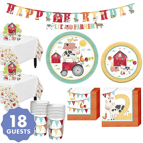 Friendly Farm 2nd Birthday Tableware Kit For 18 Guests