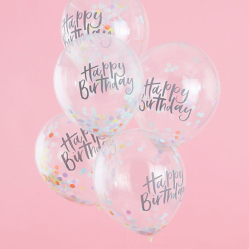 Ginger Ray Pastel Confetti Happy Birthday Balloons 5ct