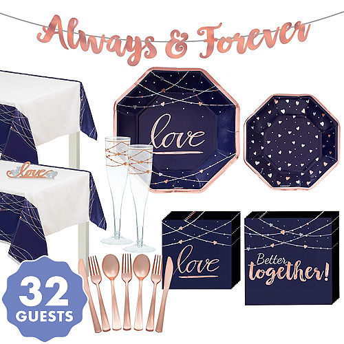Navy & Rose Gold Love Wedding Theme Supplies, Decorations & Favors ...