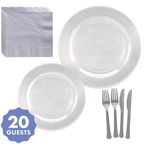 Birthday Party Complete Tableware Set Silver Tableware Pack for 40 Guests