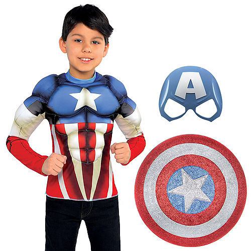 New child boy Halloween costume super hero cape /& mask captain america inspired