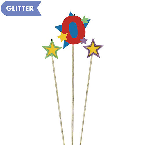 Number 0 Star Birthday Toothpick Candle Set 3pc