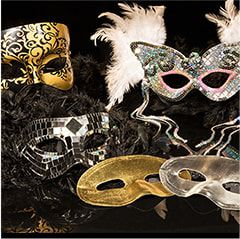 New Year's Eve Black, Silver & Gold Fashion Masks