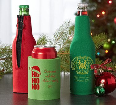 Personalized Christmas Huggers & Coozies