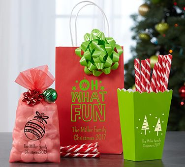 Personalized Christmas Favor  Bags & Containers