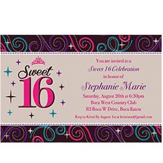 Custom invitations for milestone birthdays party city 13th 15th 16th 18th birthdays invitations filmwisefo