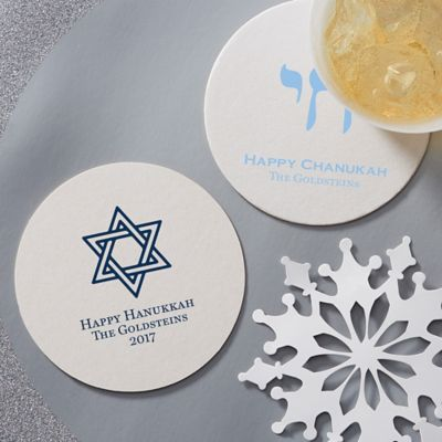 Personalized Hanukkah Coasters