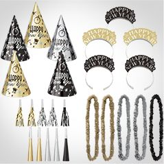 New Year's Eve Black, Gold, Silver Party Kits
